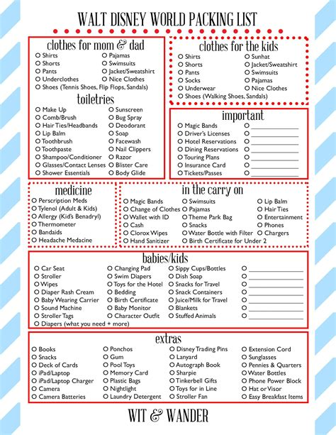 printable walt disney world planner wit and wander walt disney world printable packing sheet