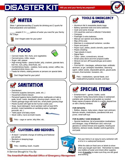 disaster preparedness list disasterkit prepare