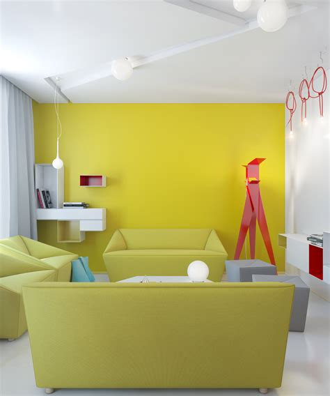 white and yellow bright wall painting color for wall and white flooring and ceiling to solve