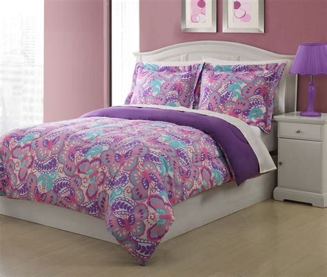 purple bed sets twin microfiber kids paisley butterfly bedding comforter