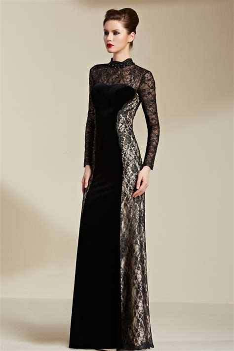 formal long sleeve lace prom dress floor length black long sleeve lace formal dress evening