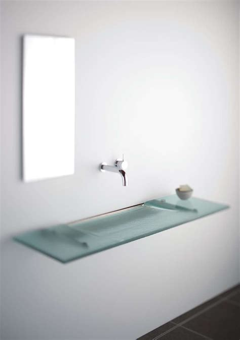 bathroom with 2 sinks very slim glass bathroom sink linea washplane 174 seafoam