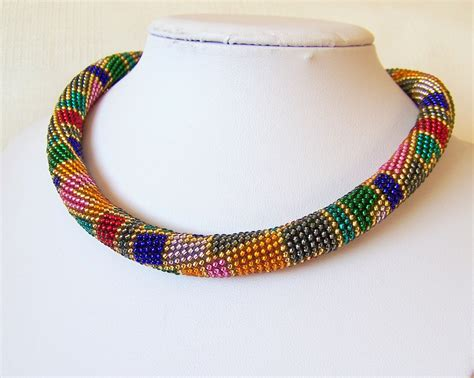 crochet bead necklace beautiful crochet beaded rope necklaces fashion trend
