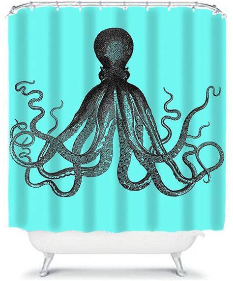 octopus shower curtain anthropologie blue shower curtain nautical octopus bathroom shower