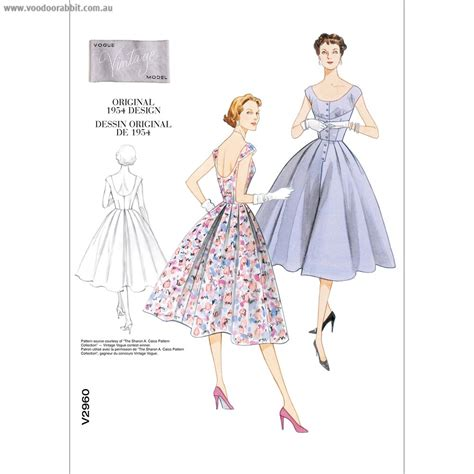 sewing patterns in australia vintage vogue pattern v2960 button front dress