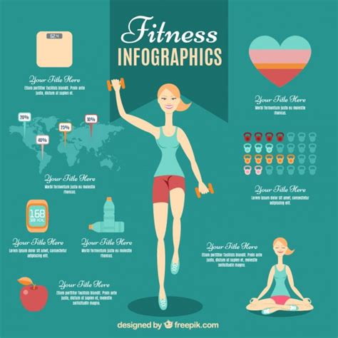 Fitness Woman Infographic Vector Free Download Fitness Infographic Template
