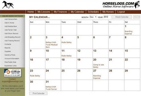 horselogs.com online horse management software
