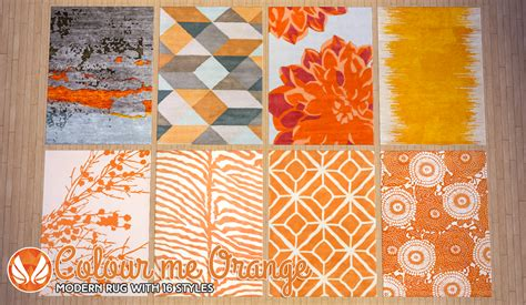 Orange Modern Rug by Simsational Designs Colour Me Orange Modern Rugs