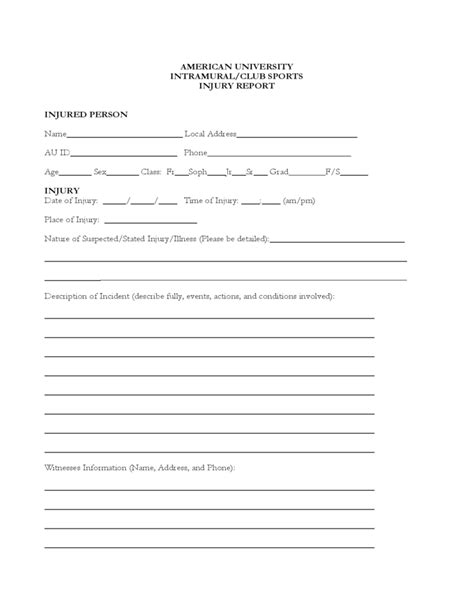 Sports Accident Report Form Template