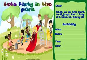 party in the park party invitations brisbane children s