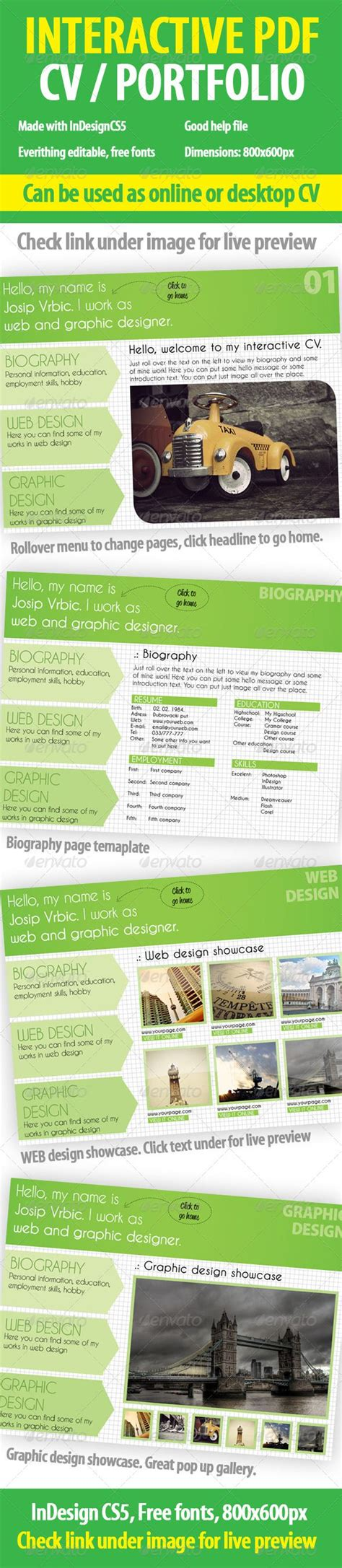 Interactive Cv Portfolio Pdf Indesign Template Portfolio Pdf Indesign Templates And Template Interactive Pdf Templates Indesign