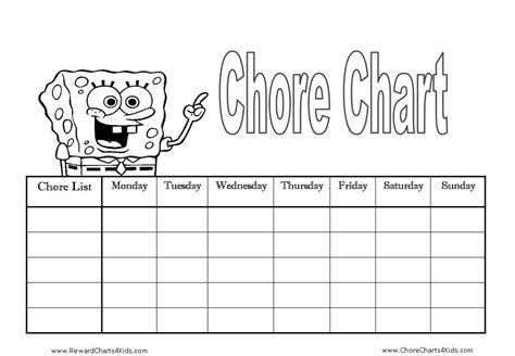 free printable reward charts spongebob monthly reading chart for kids search results calendar