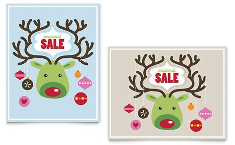 reindeer ornaments sale poster template word publisher