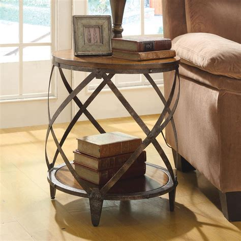 accent end table round oak brown wood metal drum shape contemporary accent