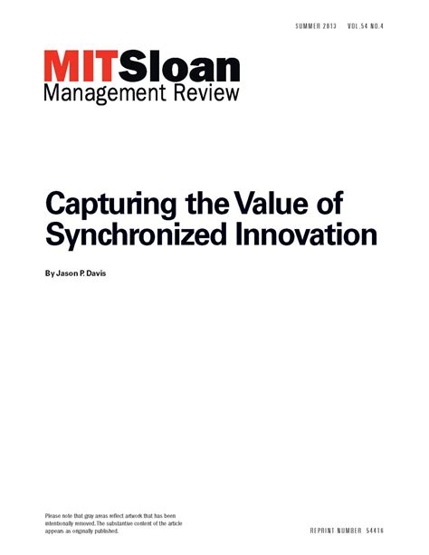 Mit Sloan Mba Total Cost by Capturing The Value Of Synchronized Innovation Mit Smr Store