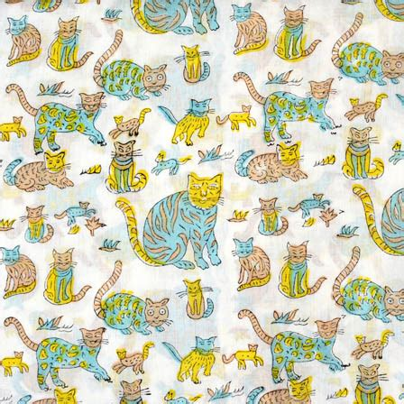 printable fabric reviews buy white and cyan cat kids block print fabric 4558 for
