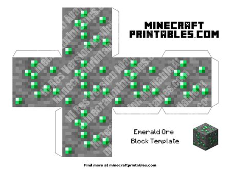 Minecraft Printable Paper Crafts - emerald ore printable minecraft emerald ore papercraft