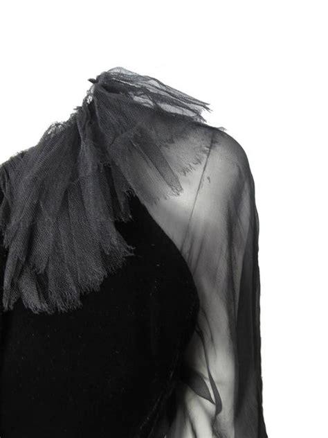 Velvet Sleeve Collar Dress oscar de la renta black velvet dress with chiffon sleeves