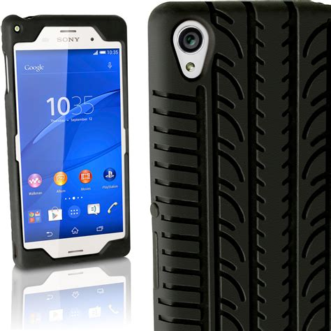 Softcase Sony Xperia Z3 D6603 igadgitz black tyre tread silicone rubber gel skin