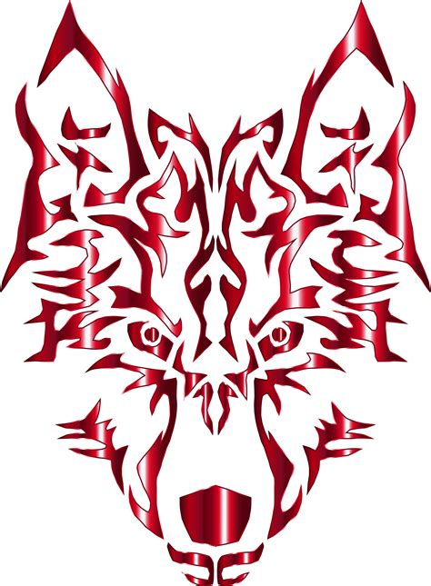 clipart crimson symmetric tribal wolf no background