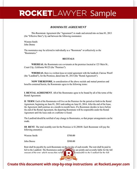Agreement Letter For Roommate Roommate Agreement Template Free Form With Sle