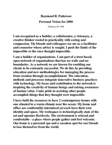 personal vision statement template best template collection