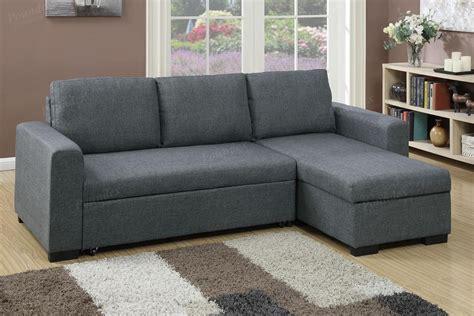 Grey Fabric Sectional Sofa Poundex Samo F6931 Grey Fabric Sectional Sofa Bed A Sofa Furniture Outlet Los Angeles Ca