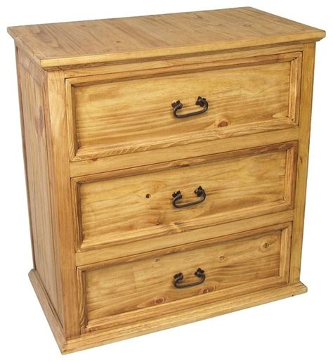 Bedroom Dresser Chest by 3 Drawer Mexican Pine Dresser Traditional Dressers