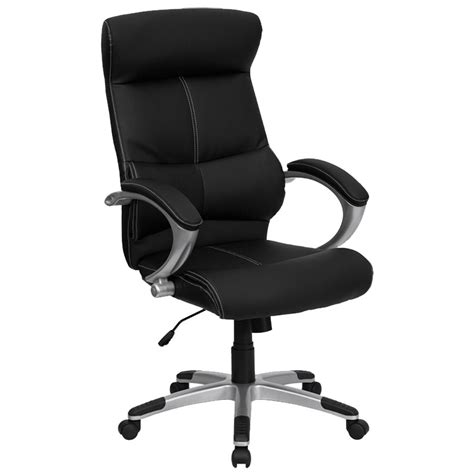 high  black leather contemporary executive office chair  built  lumbar support