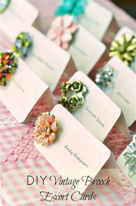 how to diy wedding place cards diy vintage brooch cards