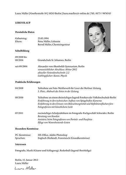 Guter Lebenslauf Vorlage Schweiz Der Tabellarische Lebenslauf Tt