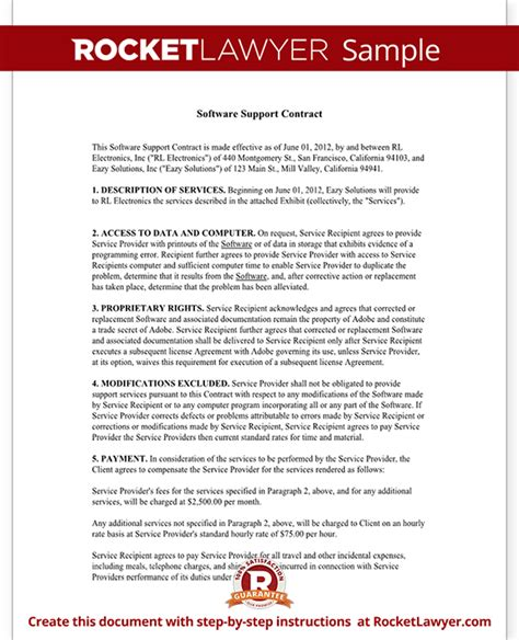 software as a service contract template software maintenance agreement template with sle