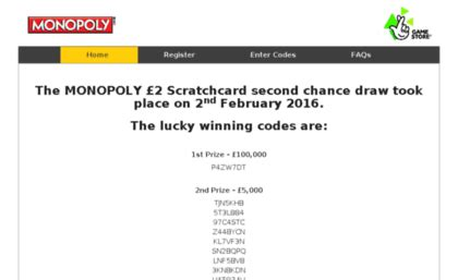 Monopoly 2nd Chance Sweepstakes - secondchancedraw co uk website home the national lottery monopoly second chance draw