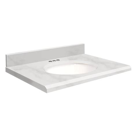 31 Bathroom Vanity With Top Shop Transolid White Marble Marble Undermount Single Sink Bathroom Vanity Top Common