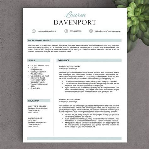 Resume Template Unique by Quot The Davenport Quot Professional Yet Unique Resume Template