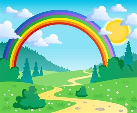 childrens wallpaper cartoon rainbow wall mural