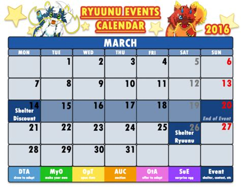 Calendar Events Today Ryuunu Events Calendar March 2016 By Cachomon On Deviantart