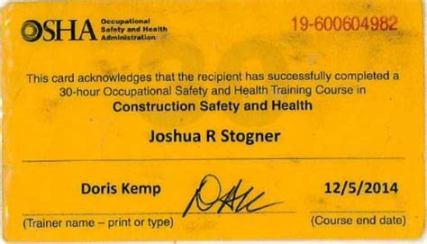 osha 10 card template sle osha 10 hour card blank images