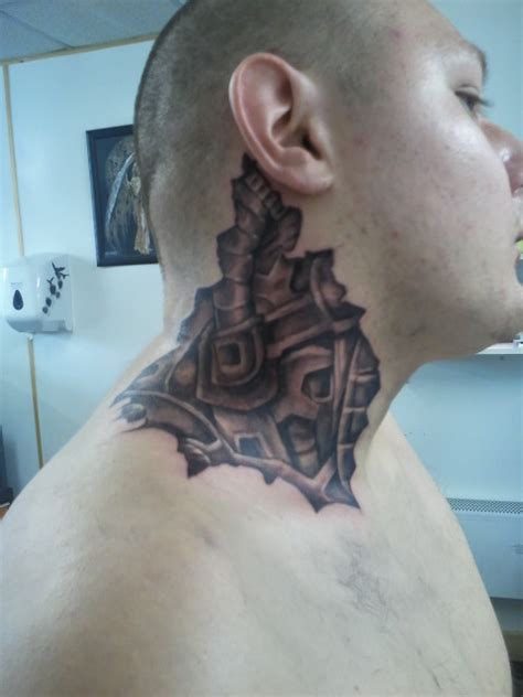 biomechanical neck tattoo grey ink biomechanical neck tattoo