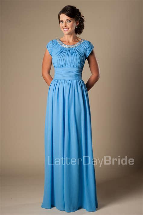 Dresslong Dressgamis 4 maxi blue length modest chiffon bridesmaid formal dresses with cap sleeves beaded