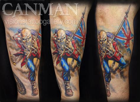 visions tattoo gallery the trooper iron maiden by canman tattoonow