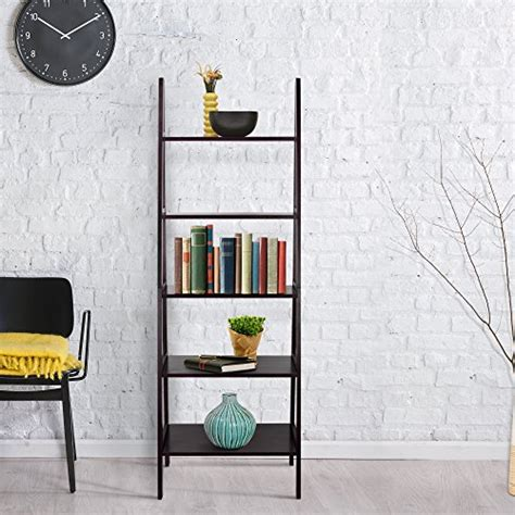 Leaning Ladder 5 Shelf Bookcase Espresso by Espresso Solid Wood Simple Leaning 5 Shelf