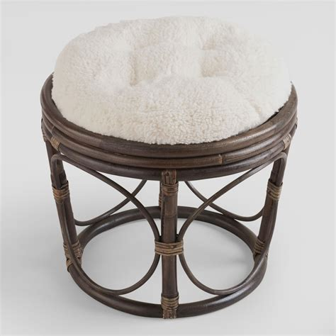 Papasan Chair With Stool by Ivory Faux Fur Papasan Stool Cushion World Market