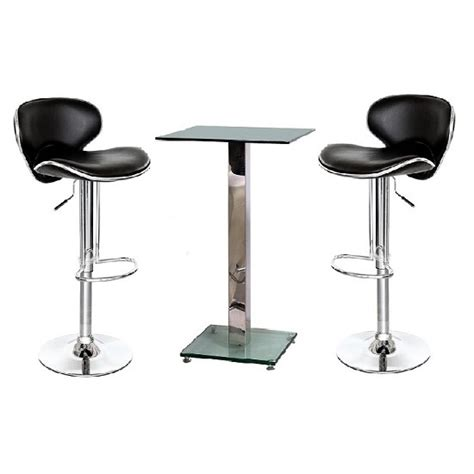 Glass Bar Stools by Spice Glass Bar Table In Clear And 2 Duo Bar Stools In Black