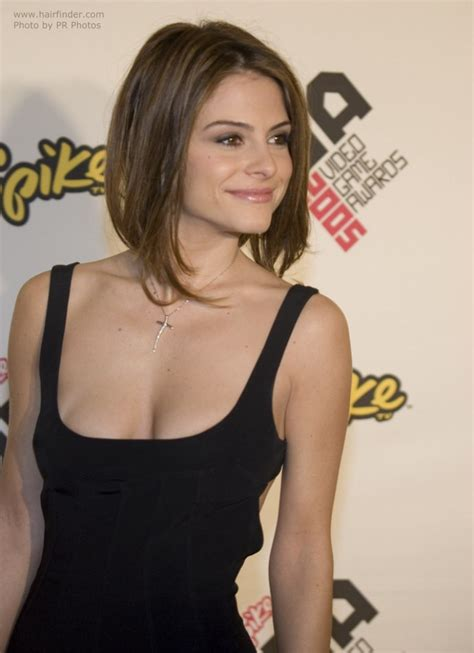 maria menounos tapered bob hairstyle with a shorter back