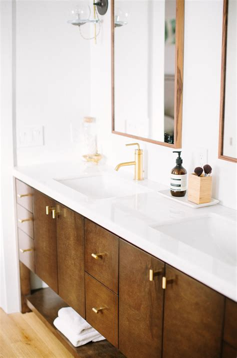 Modern Wood Bathroom by Custom Mid Century Modern Wood Bathroom Vanity Designed By