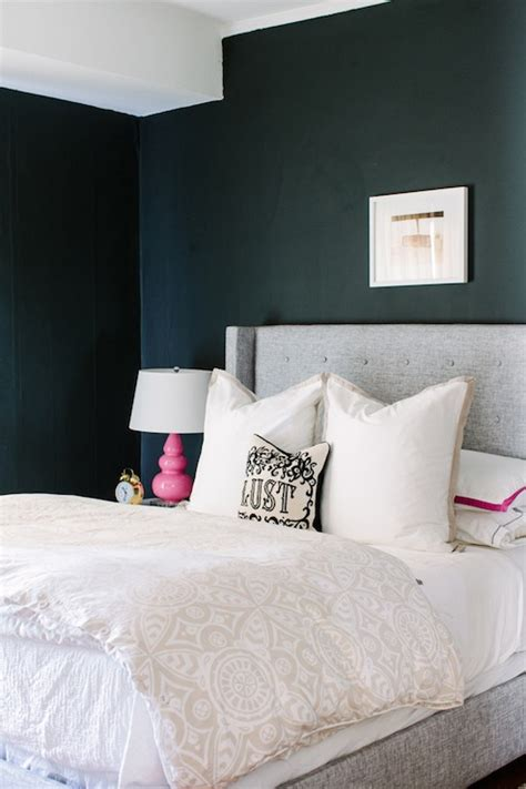 farrow and ball girls bedroom gray wingback headboard contemporary bedroom farrow ball pitch black the