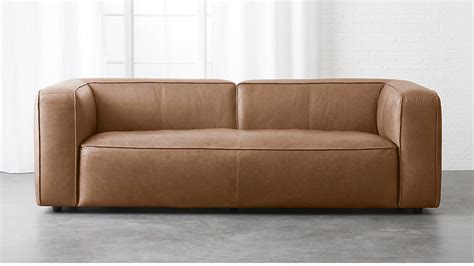 overstuffed leather couch lenyx overstuffed leather sofa cb2