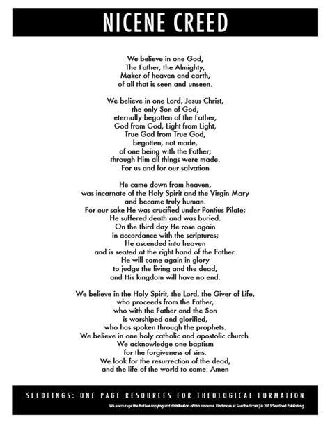 printable version nicene creed nicene creed seedbed lutheran heritage etc pinterest