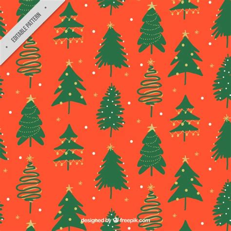 painted hand christmas trees painted trees pattern vector free